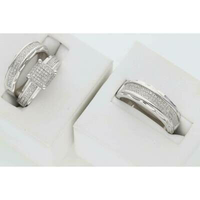 10 Karat White Gold & Diamond Fancy Square Line Relief Wedding Trio Set Ring