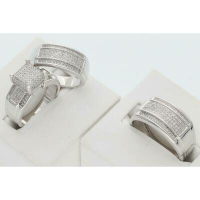 14 Karat White Gold & Diamond Fancy Square Three Line Wedding Trio Set Rings