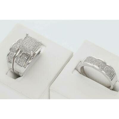 14 Karat White Gold & Diamond Fancy Big Square Wedding Trio Set Rings