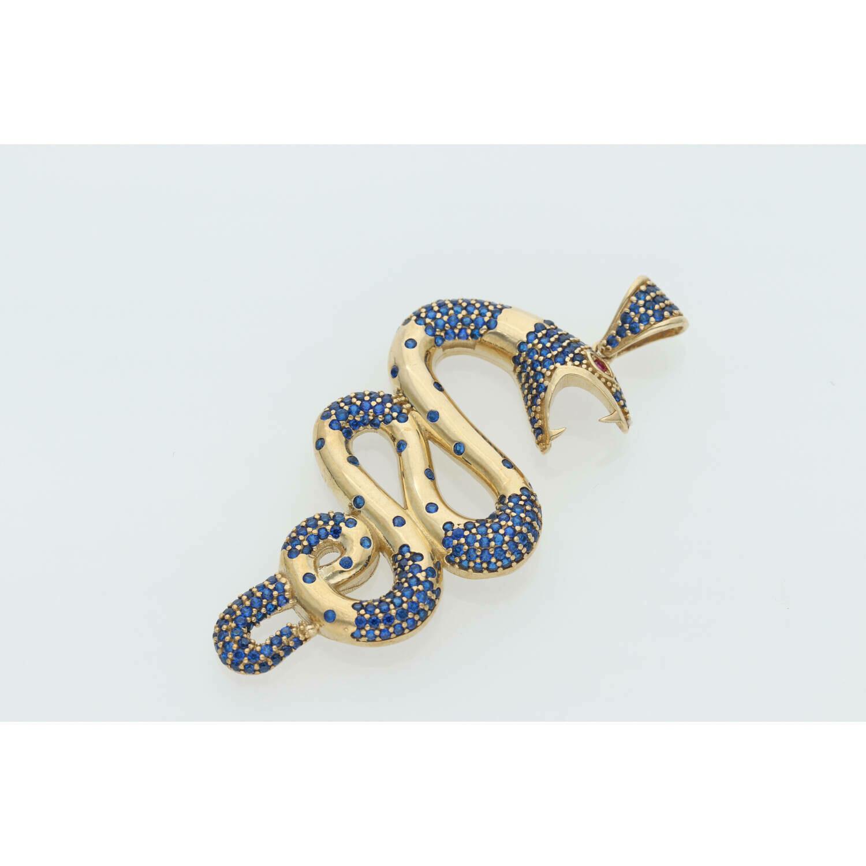 10 Karat Gold & Zirconium Blue Snake Charm