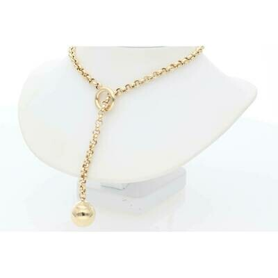 14 Karat Gold Sphere Circle Thick Rollo Necklace