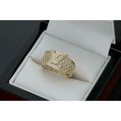 14 Karat Gold & Zirconium Fishnet Fancy