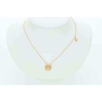 14 Karat Gold & Diamond Star Of David With Circle Border Rollo Necklace