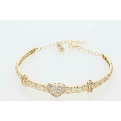14 Karat Gold & Zirconium Heart Textured Bangle