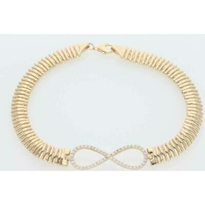 14 Karat Gold & Zirconium Infinite Straight Line Link Bracelet