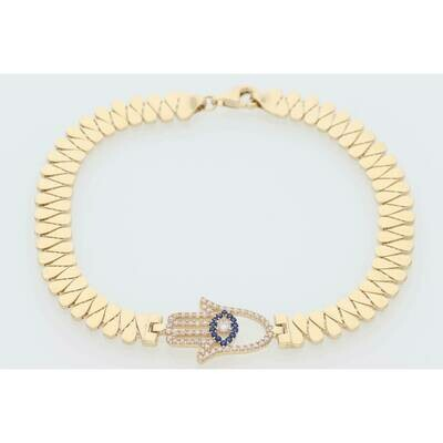 14 Karat Gold & Zirconium Hamsa Hand Eye Drop Link Bracelet