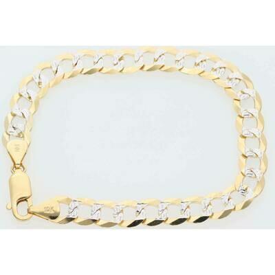 10 Karat Solid Gold Italian Curb Pavé Bracelet