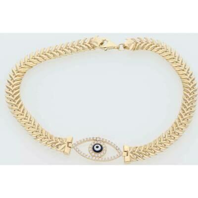 14 Karat Gold & Zirconium Eye Elegant Spike Bracelet