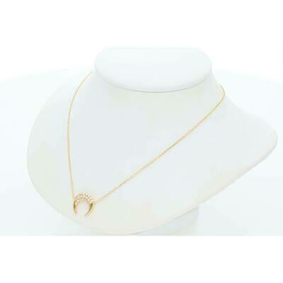 14 Karat Gold & Diamond Crescent Moon Rollo Necklace