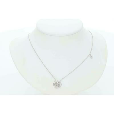 14 Karat White Gold & Diamond Star Of David With Circle Border Rollo Necklace