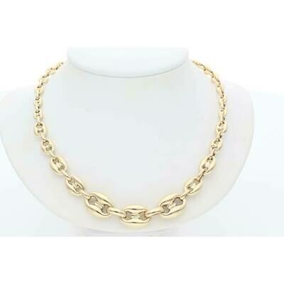 14 Karat Gold Double Width Puff Mariner Necklace