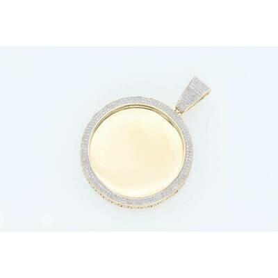 10 Karat Gold & Diamond Micropave Memory Pendant Greek Photo Charm