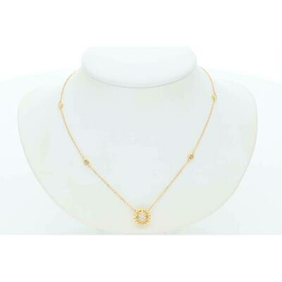 14 Karat Gold & Diamond Round Cluster With Beaded Border Rollo Necklace
