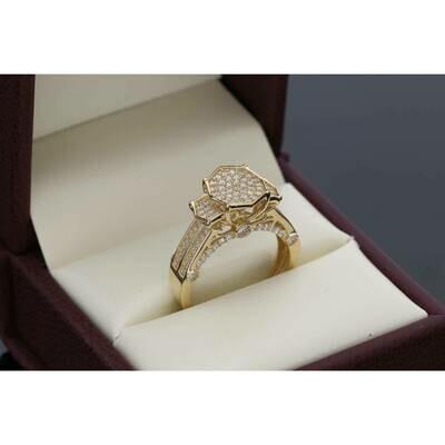 14 karat Gold & Cz Octagon Princess Ring Size 7 W:4.5