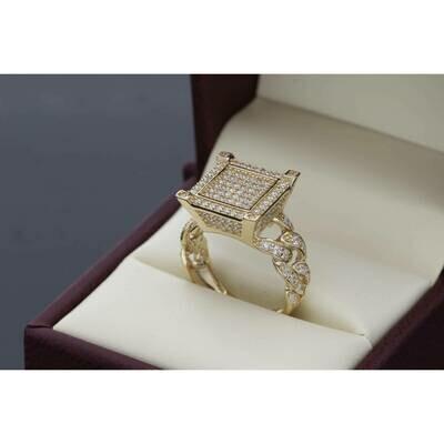 14 karat Gold & CZ Square Cuban Ring Size 7.5 W: 6.1