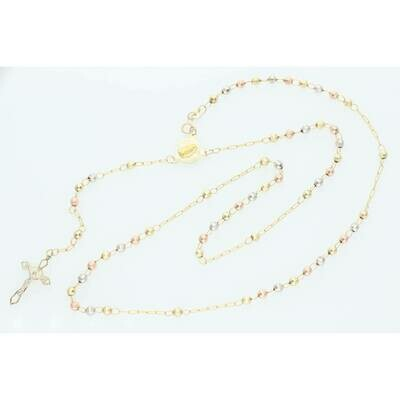 10 karat Gold Three Tone Rosary 3.6mm x 24