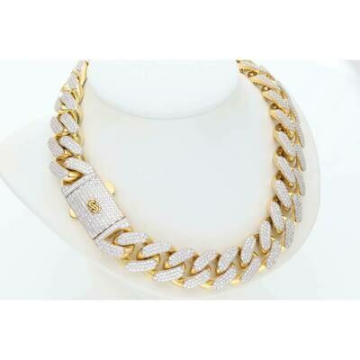 10 Karat Gold & Cz Cuban Link Monaco Chain 15.2mm x 30