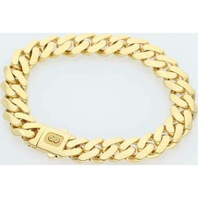 10 Karat Gold Cuban Link Monaco Bracelet 11 Millimeters