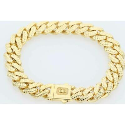 10 Karat Gold Diamond Cut Cuban Link Monaco Bracelet 11 mm
