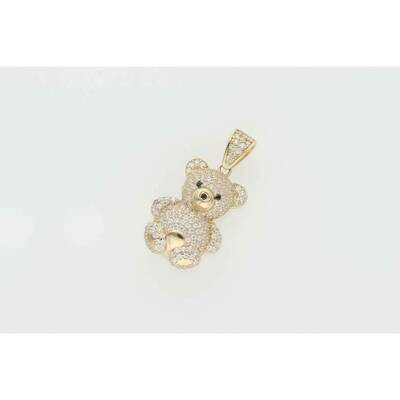 14 Karat Gold & Cz Teddy Bear Charm W: 3.6gr~