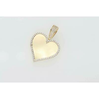 14 Karat Gold & Cz Heart Photo Charm W: 3.5gr~