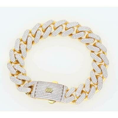 10 Karat Gold & Cz Cuban Link Monaco Bracelet 15.2mm x 9