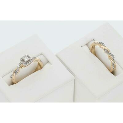10 Karat Gold 1/3 Ctw Diamond Ciara Bridal Duo Set Ring S: 7 W: 4.5gr~