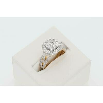 14 Karat Gold 1/2Ctw Diamond Duo Ring S: 7 W: 7.4gr~