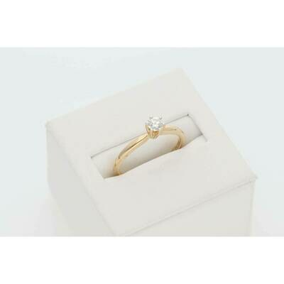 14 Karat Gold 1/4Ct Round Diamond Solitarie Ring S: 7 W: 2.0gr~