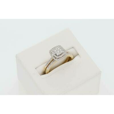 10 Karat Gold  1/3Ctw Diamond Ciara Bridal Duo Set Ring S: 7 W: 4.5gr~