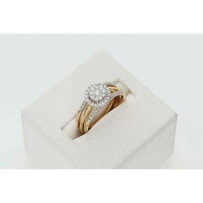 14 Karat Gold 1/2 Ctw Diamond Amour Bridal Trio Set Ring S: 7 W: 4.7gr~