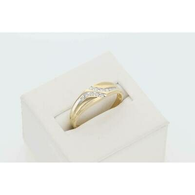 14 Karat Gold 1/8 Ct Diamond Gift Mens Band Ring S: 10 W: 2.3gr~