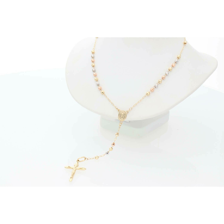 14 Karat Gold Three Tone Rosary Chain 2.9 x 18