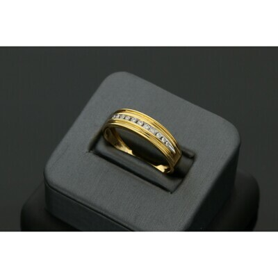14 Karat Gold & 0.15 Ctw Diamond Mens Band Ring S: 10 W: 2.6 ~