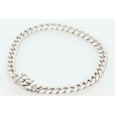 10 Karat White Gold Miami Cuban Link Bracelet 6.5m x 8