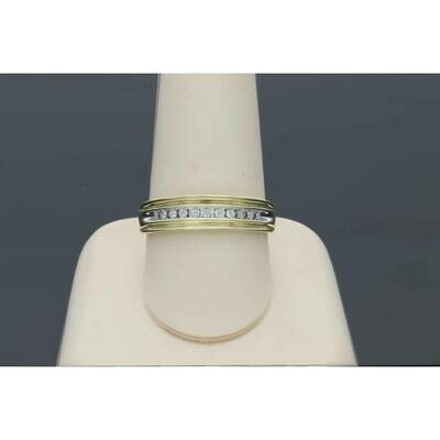 10 Karat Gold YG 0.11Ctw Diamond Mens Band S: 10.5 W: 2.8gr~