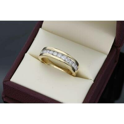 10 Karat Gold YG 0.70Ctw Diamond Mens Band Ring S: 10 W: 8.1gr~