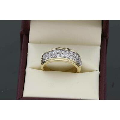 10 Karat Gold YG 1.55Ctw Diamond Mens Band Ring S:10 W:8.4