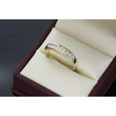 10 Karat Gold YG 0.30Ctw Diamond Mens Band S: 10.5 W:3.8~