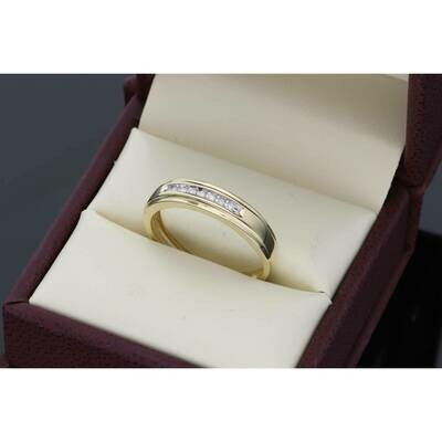 10 Karat Gold YG 0.08 Ctw Diamond Mens Band Ring S: 10 W:2.4gr~