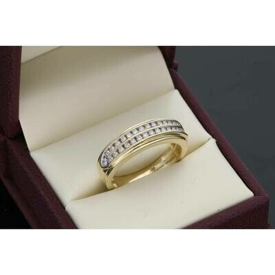 10 Karat Gold YG0.50 Ctw Diamond Mens Band Ring S: 10.5 W:5.9~