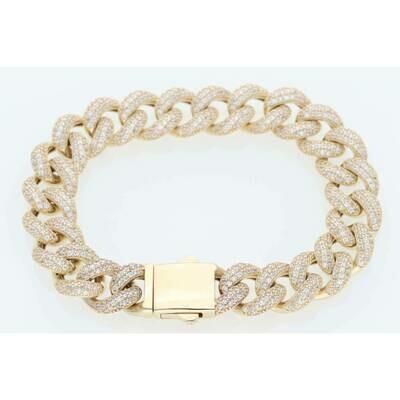 10 Karat Gold & Cz Miami Cuban Link Bracelet 11.1mm x 7