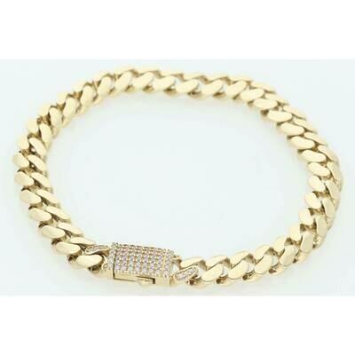 10 Karat & CZ Box Lock Cuban Link Monaco Bracelet 7.7mm x 8