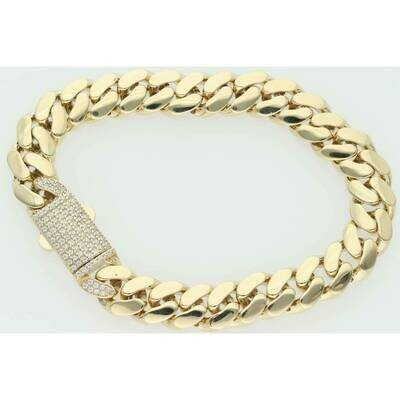 10 Karat Gold & Cz Box Lock Cuban Link Monaco Bracelet 9.3mm x 8