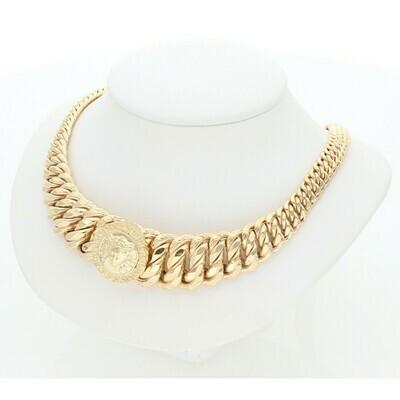 10 Karat Gold Medusa Princess Necklace 7-17mm x 18