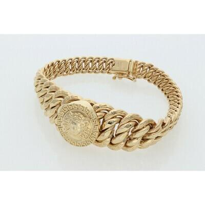 10 Karat Gold Medusa Princess Style Bracelet 17.5mm-7.7mm x 7