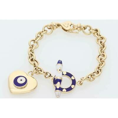 14 Karat Gold Heart Blue Eye Rollo Bracelet 7.4mm x 7