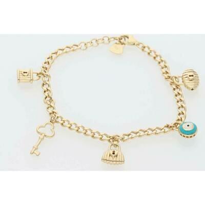 14 Karat Gold Eye Handbag Lock Key Bracelet 3.4mm x 7