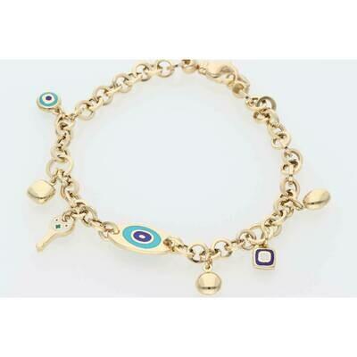 14 Karat Gold Eye Key Rollo Bracelet 4.7mm x 7