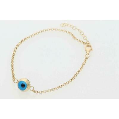 14 Karat Gold  Eye Popcorn Bracelet 1.9mm x 8